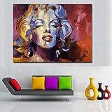 Danjiao Pintura Abstracta Colorido Vintage Retrato Lienzo Pintura Arte De La Pared Imagen Para Sala De Estar Cartel Cudros Decoración Sala De Estar Decor 60x90cm