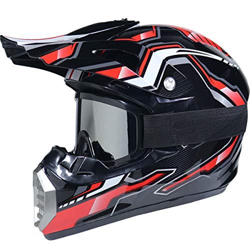 GZMES - Coche y Moto Casco Downhill Hombre Adulto Casco Motocross Enduro Sports MTB con Gafas Máscara Guantes Casco Cross Quad Off Road ATV Scooter Helmet,XL