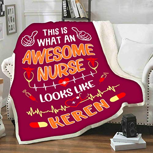 """Stylish Gears This is What an Awesome Nurse Looks Like, Customized Blanket Gift for Nurse with Names, Birthday Gifts, Nurses Day, Gift for Loved Ones, Supersoft Blanket (60"""" X 80"""")(50"""" X 60"""")"""