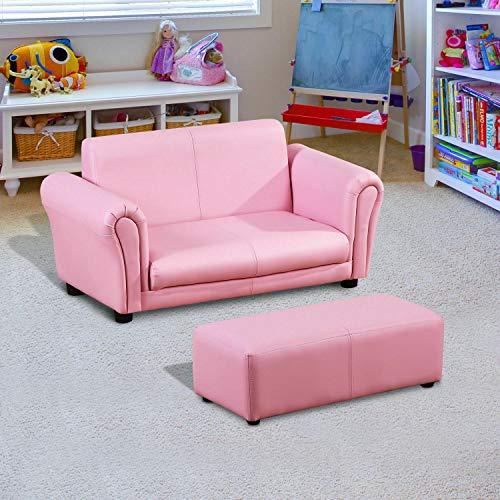 ADHW Kindersessel Kindersofa Sofa Sessel Kinder Softsofa mit Hocker 2 Farben (Color : Rosa)