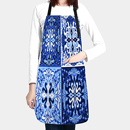 kThrones Unisex Chefs Kitchen Apron Waterproof with Pockets,talavera pattern azulejos portugal turkish ornament,Bib Aprons for Cooking Restaurant Work BBQ Gardening Craft Painting Baking