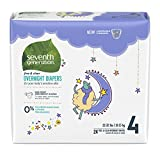 Seventh Generation Free & Clear Overnight Baby Diapers, 22-32 lbs, Stage 4, 96 Count, Size 4