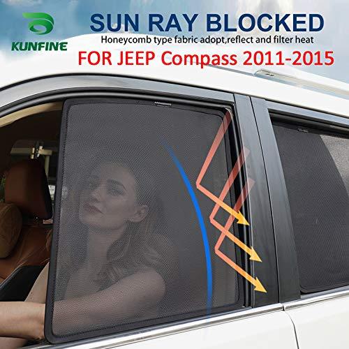 KUNFINE 2 PCS/Set Magnétique Voiture La fenêtre SunShades Engrener Ombre Aveugle Custom Fit Spécifique au véhicule pour Jeep Compass 2011-2015