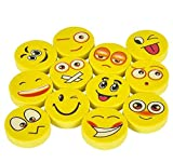 Rhode Island Novelty Lot of 72 Assorted Round Emoji Face Erasers