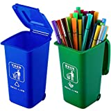 Supervitae 2 Pieces Mini Curbside Garbage Trash Bins Pen Holder Desk Organizer Garbage Bin Recycle Can Set Pencil Cup Desktop Organizer