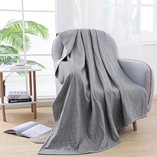 A·M CAT Cotton Blanket Twin SizeWoven Style Bed ThrowSoft and Comfortable,4 LayersAll Season BlanketsGrey59quotx78quot