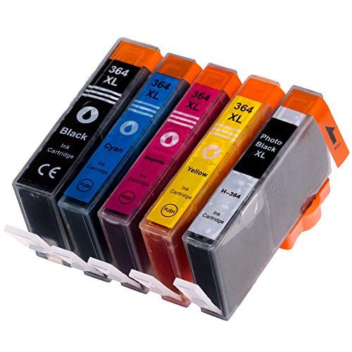 5 AfiD Druckerpatronen zu HP 364XL 5er Set mit Photoblack für HP PhotoSmart Premium Fax, PhotoSmart Premium Fax C 309 a, PhotoSmart Premium Touchsmart Web, PhotoSmart Premium TouchSmart Web C 309 n