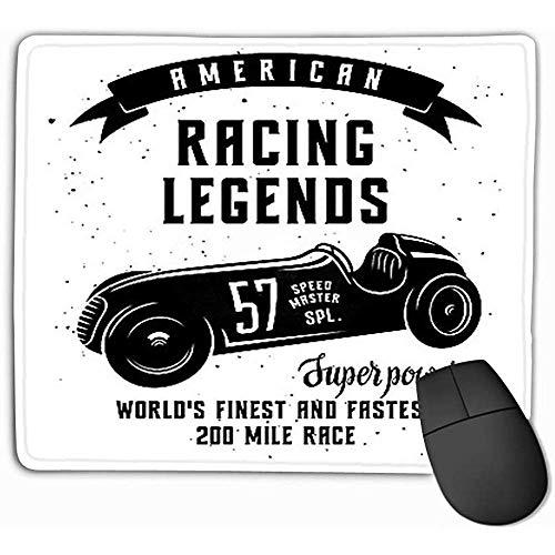 Kundenspezifische Mausunterlage, 30X25CM einzigartiges gedrucktes Mäusematten-Entwurfs-Rennwagen-Geschwindigkeits-Rennläufer-grafisches amerikanisches Rennen-Weinlese-Plakat