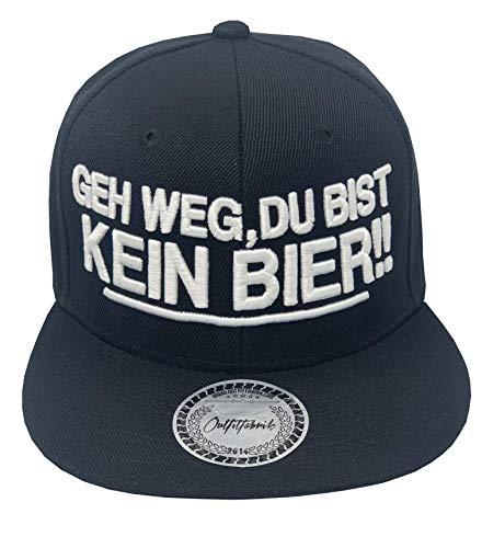Outfitfabrik Snapback Cap GEH Weg, du bist kein Bier! in schwarz mit 3D-Stick (Sprueche, Geschenk, Statement, Saufen fetzt), für Männer und Frauen, verstellbar