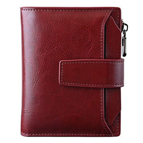 Cartera de piel pequeña con bloqueo RFID y bolsillo con cremallera para mujer, con ventana de identificación, rojo vino, S