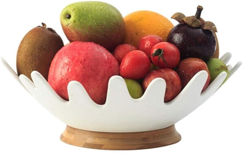 el precio más bajo Xu Yuan Jia-Shop Jia-Shop Jia-Shop Fruteros con Pisos Plato de Frutas, Base de bambú, Cesta de Frutas del hogar, Plato de Frutas de cerámica de la Sala de Estar, Plato de Frutas Simple nórdico Creativo (Tamaño   L)  ahorrar en el despacho