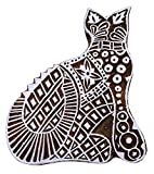 ibaexports Cat Indian Wood Block Art Decorative Stamps Handcarved Printing Textile Stamp