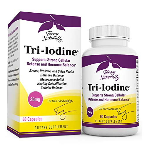 Terry Naturally Tri-Iodine 25 mg - 25000 mcg Iodine, 60 Vegan Capsules - Supports Hormone Balance, Promotes Breast & Prostate Health - Non-GMO, Gluten-Free, Kosher - 60 Servings