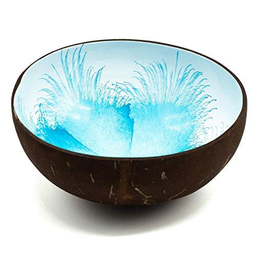 cocovibes Coconut Bowl, Kokosnuss Schale, Buddha Deko Schüssel, handgemacht, lackiert Splash blau-weiß