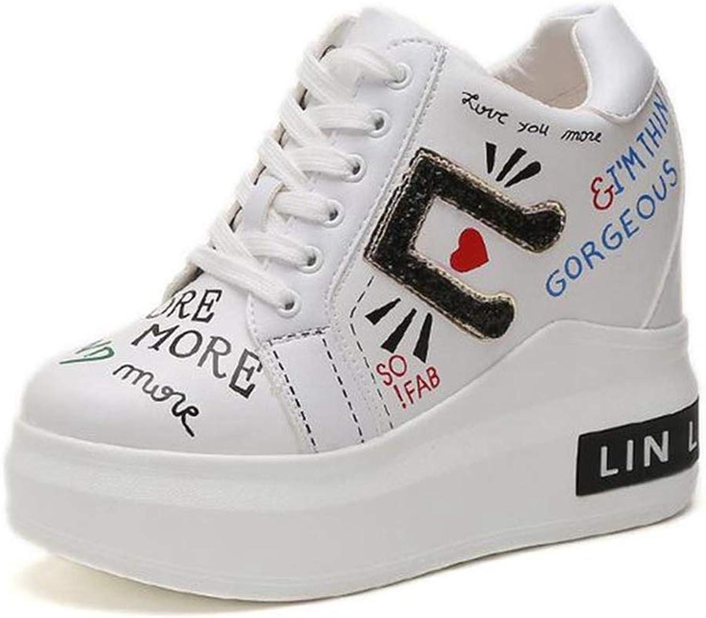 Womens Hidden Heel Wedge Sneaker Fashion Printed High Heel Ankle Boots Comfortable Elevator Walking shoes