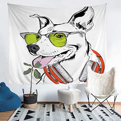 Loussiesd Tapiz impreso para niños y niñas, diseño de perro joven, decoración de pared Hip Hop para colgar en la pared, gafas de sol, para colgar en la pared, tamaño grande 58 x 79