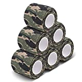 AIRSSON 6 Roll Camouflage Tape Cling Scope Wrap Military Camo Stretch Bandage Gun Rifle Shotgun Camping Hunting 2' x6 yds Self-Adhesive (Woodland 6 Pack)