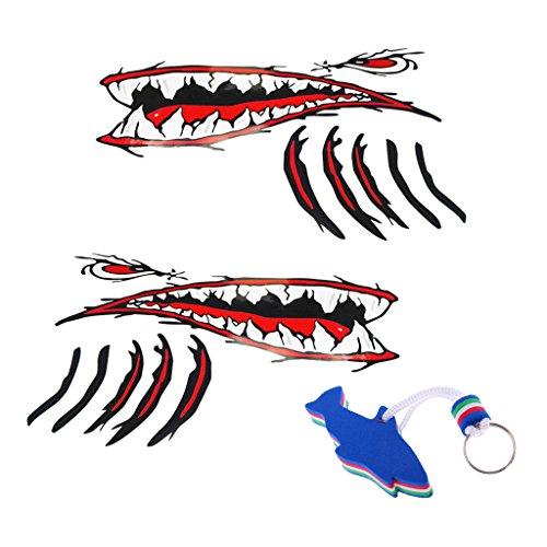 IPOTCH 2 Piezas de Calcomanías de Boca de de Tiburón con Calcomanía Flotante para Navegar