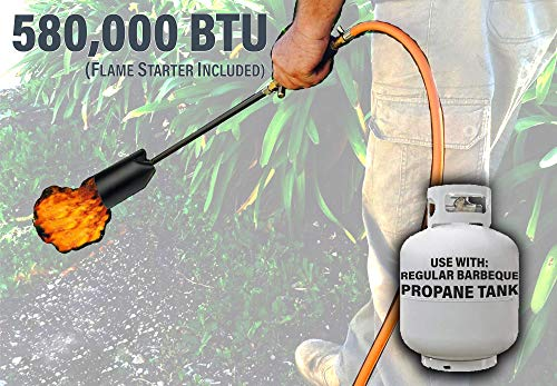 Mr Volcano Weed Burner 580,000 BTU HIGH Output With 12 FOOT HOSE Outdoor Torch Kit Black Propane