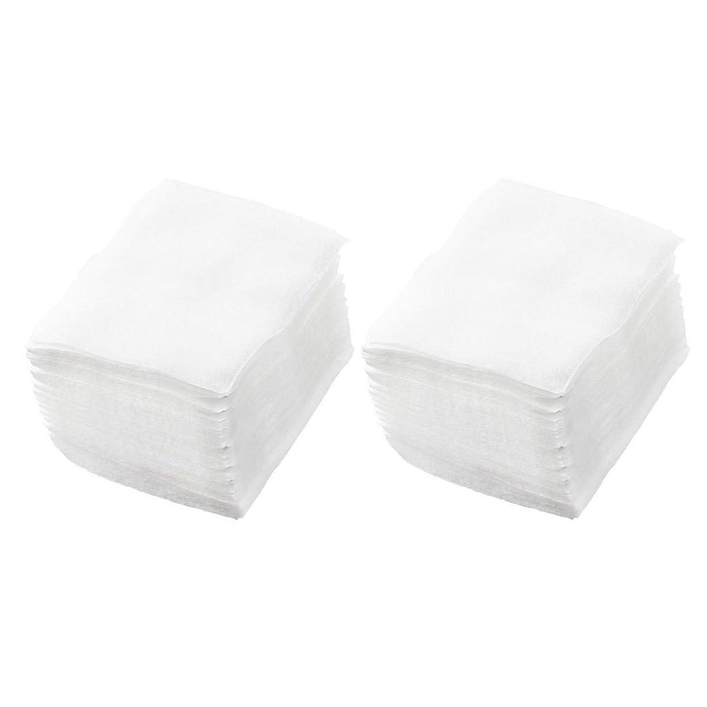 おじさん掻く任命するSODIAL(R) 320個 レディ ホワイト ネイルポリッシュリムーバ 長方形フェイスクリーニング コットンパッド