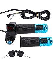 Vgeby - Manillar regulador acelerador eléctrico con indicador de batería LED y cierre con llave para alimentación de scooter o bici de montaña