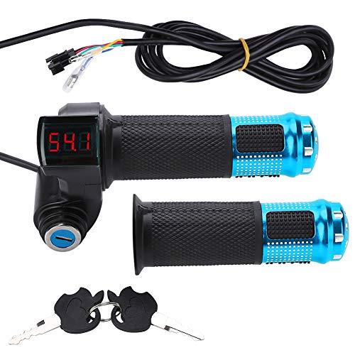 Guidon de Poignée des Gaz Régularisateur Accélérateur Électrique avec l'Affichage à LED et Verrouillage du Clé d'Alimentation Pour Scooter Vélo VTT ( Couleur : Bule )