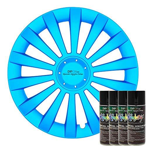 KandyDip® Sprühfolie Frozen Blue Flüssiggummi Felgenfolie Spraydosen Sets+2K, (1x Basis +1x Effekt, Satin)