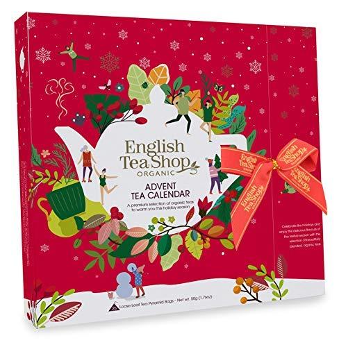 English Tea Shop Calendario dell'Avvento Rosso Tè e Tisane del Natale in Cofanetto Stile Libro - 1 x 25 Bustine di Tè (50 Grammi)