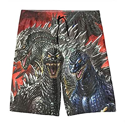 Teen Boys Summer Surf Swim Trunks Swimwear Half Pants for Beach Gym Workout - Giant Dinosaur Godzilla Villains Tribute King of The Monsters Quick Dry 3D Printed Board Shorts with Pockets