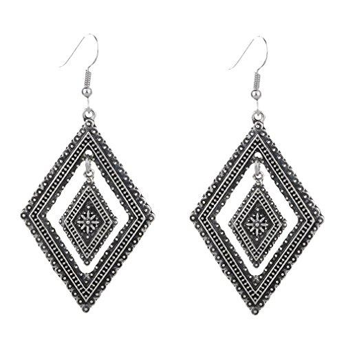 YAZILIND tibetano plata aleacion doble rombos anzuelo aretes mujeres ninas regalo (plata)