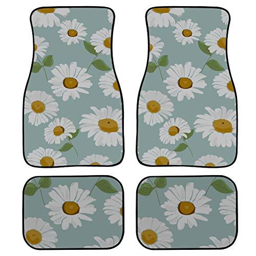 LMFshop 4 Piezas Alfombrillas Personalizadas para automóviles Art Rose Daisy Pintura de Acuarela Alfombrilla de Coche para Mujer Frente