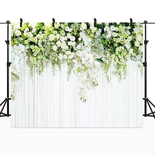 Riyidecor Bridal Floral Wall Backdrop Wedding Photography Background Dessert White Green Rose Flowers Reception Ceremony 10Wx8H Feet Decoration Props Party Photo Shoot Backdrop Vinyl Cloth