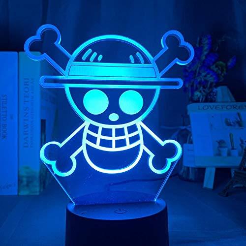 ZMSY - Lámpara nocturna 3D con diseño de anime con logotipo de One Piece, luz nocturna LED para niños, con sensor táctil de colores, para dormitorio o decoración de escritorio
