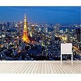 MINCOCO Kundenspezifische Fototapete, Tokyo-Stadtnachtansicht, moderne Tapete 3D für wasserdichte Tapete des Wohnzimmerschlafzimmers Fernsehhintergrundes, 300x210 cm (118.1 by 82.7 in)