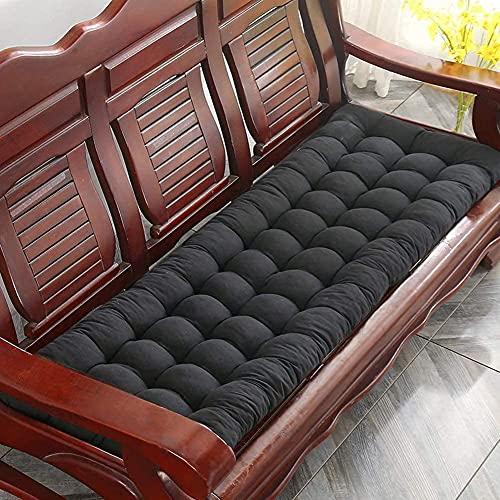 Upcaremall, Cojín de banco de jardín, cojines de tumbona, respaldo alto, antideslizante, cojín de asiento de banco de madera, colchón de repuesto para interior y exterior (negro, 48 x 170 cm)
