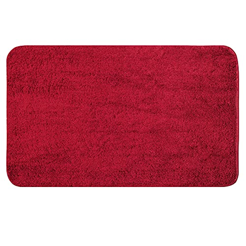 MIULEE Alfombra de Pelusa Poliester Suave Antideslizante Absorbente Alfombrilla Lavable de Piso Puertas de Entrada Pasillo para Dormitorio Baño Salon Modernas Cocina 1 Pieza 40 cm x 60 cm Rojo