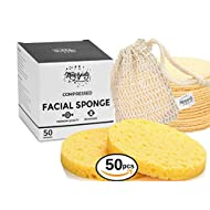 Facial Sponges, Bigger Size, 100% Natural Compressed Odorless Cellulose Face sponge for Cleansing | Facial Exfoliating Sponge Reusable Facial Sponge + 1 Storage Bag (50 Pcs) - MaxyBeauty