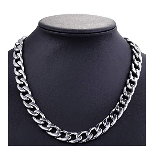 chenyou Pendant Mens Necklaces Chains Stainless Steel Silver Necklace for Men Women Curb Cuban Jewelry 3/5/6/7/8/10mm necklace (Color : 50cm, Size : 8mm)
