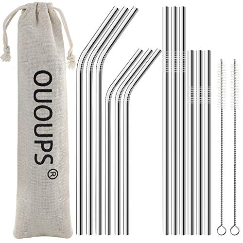 OUOUPS 12-Pack Silver Stainless Steel Straws, Reusable Metal Straws, Fit for 20oz and 30oz Tumbler Glasses, Come With 2 Cleaning Brushes and a Storage Bag