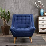 Sillones Silla tapizada de hidromasaje W / otomana cómodo asiento acolchado Tela de madera de base for la sala de estar, dormitorio, Club, Oficina Salón Sillón ( Color : Dark blue , Size : Free size )