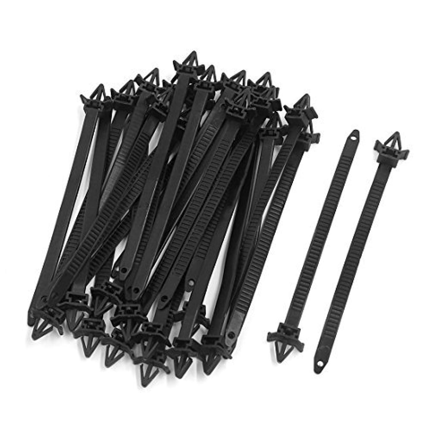 eDealMax 30pcs Negro Nylon Con alas Fin Empuje Monte lazos Cable eléctrico 15 x 0.8cm