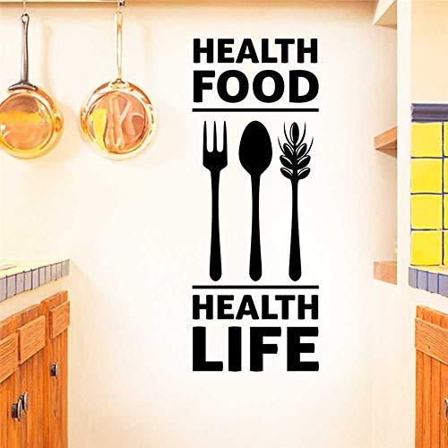 YSNMM Muurstickers Gezondheid Voedsel Gezondheid Leven Letters Zwarte Muurstickers Keuken Thuis Decoraties Lepel Vork Vinyl Mural Art Wallpaper