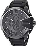 Diesel Men's Mega Chief Analog-Quartz Watch with Stainless-Steel-Plated Strap, Black, 25 (Model: DZ4486)