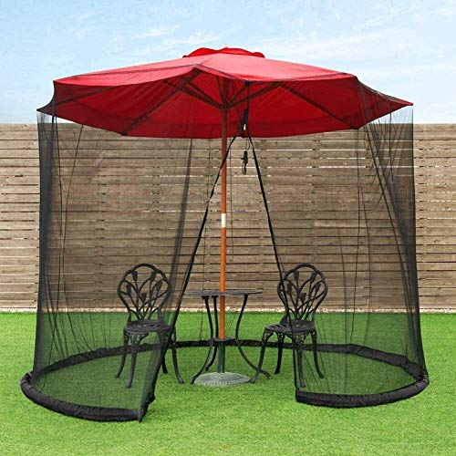 LYYJIAJU Outdoor Mosquito Net Tent Patio Umbrella Mosquito Netting Polyester Mesh Screen with Zipper Opening and Water Tube at Base to Hold in Placeols