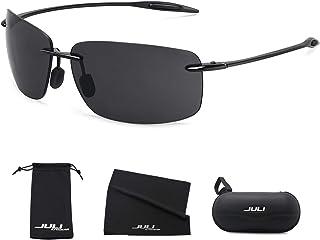 9c671e2564 JULI Sports Sunglasses for Men Women Tr90 Rimless Frame for Running Fishing  Golf Surf Driving Cycling
