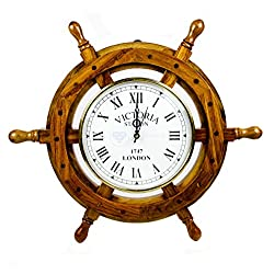 Nagina International Nautical Handcrafted Wooden Premium Wall Decor Wooden Clock Ship Wheels | Pirate's Accent | Maritime Decorative Time's Clock (18 Inches, Clock Size - 8 Inches)