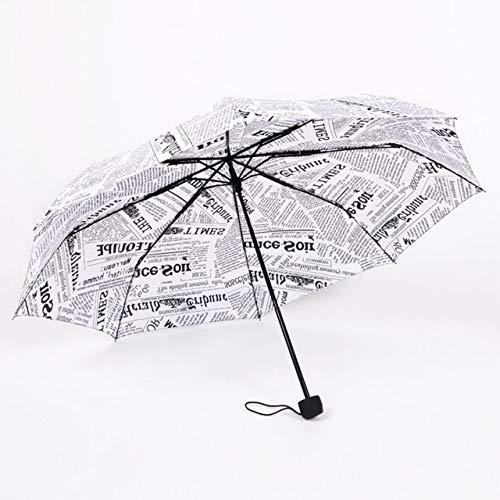 NJSDDB paraplu wit en zwart papier patroon paraplu Londen jonge zachte man regen en zon parasol 8 botten winddicht sterke vrouw regen paraplu, Kleur: wit