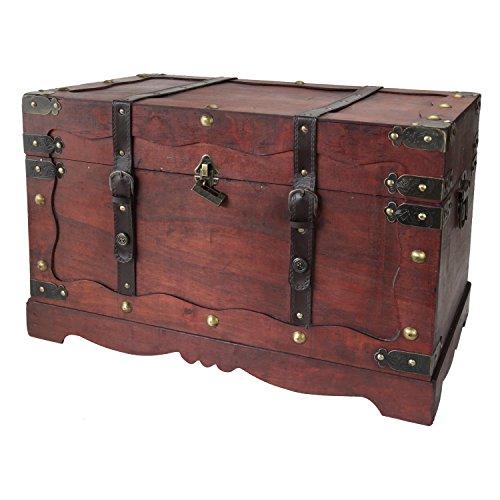 HMF 6400-160 Schatztruhe aus Holz mit Schloss | 60 x 35 x 38 cm | Groß | Frankreich