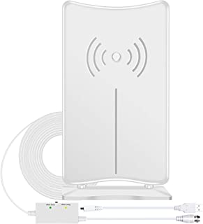 Digital HD TV Antenna, JoyGeek Amplified HDTV Antenna Stand Indoor 120 Miles Long Range Signal Wave Support 4K 1080P HD Freeview Powerful Home Amplifier Signal Booster 16ft Coax Cable USB Power