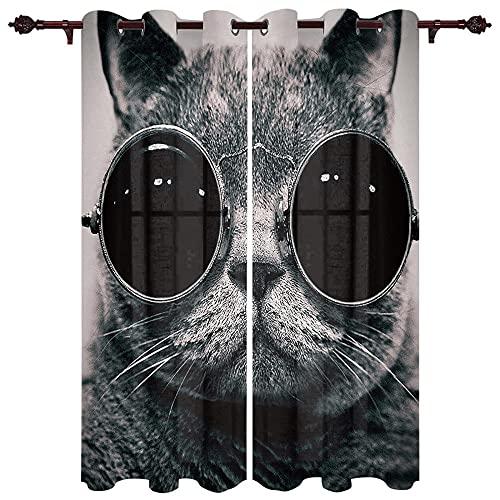 Cortina Opaca Gato Mascota con Gafas De Sol con Ojales Cortinas Térmicas Aislantes Moderna Decoración Ventanas para Dormotorio Habitacion Sala Salon 140 * 160cm(w*h)